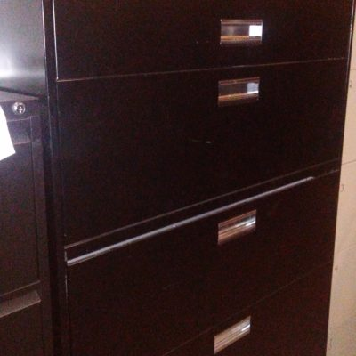 "Used 42"" Wide 5-drawer metal lateral file black"