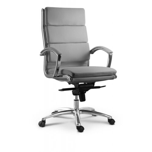 High back executive chair gray leather