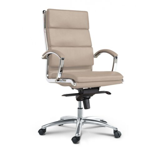 High back executive chair sand leather