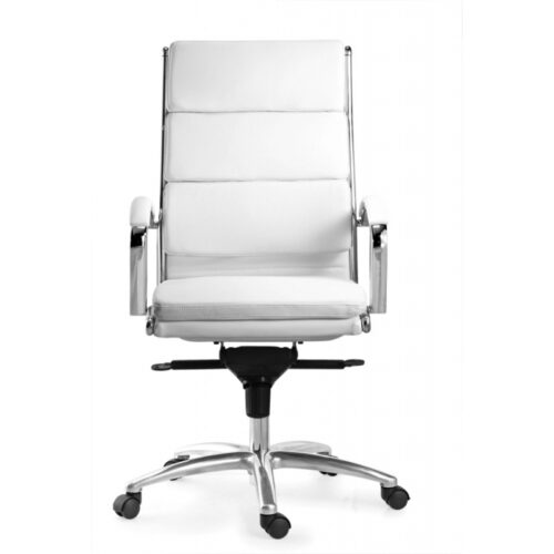 High back executive chair white leather