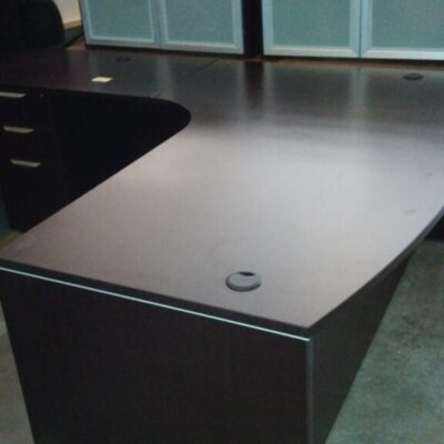 Used bow front corner desk & left return espresso