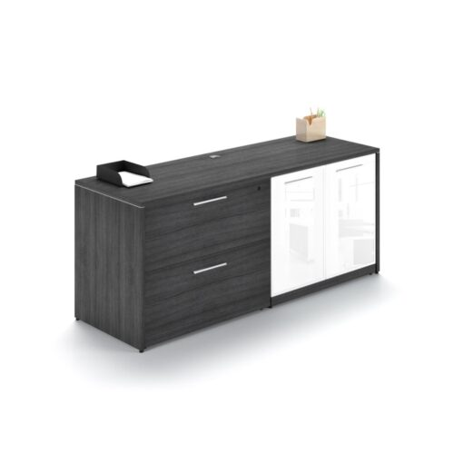 lateral file-glass door storage credenza gray