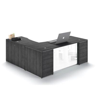CD L-desk glass modesty gray
