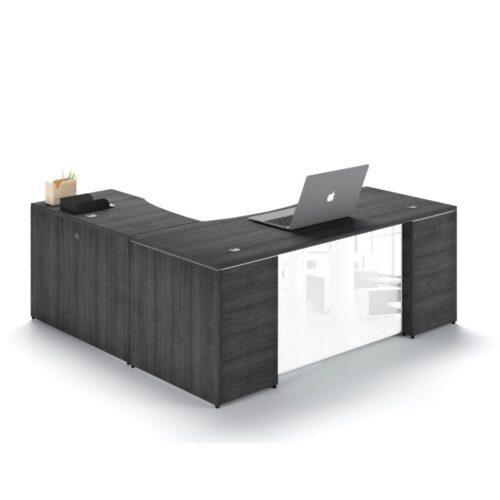 executive L-shape desk glass modesty gray