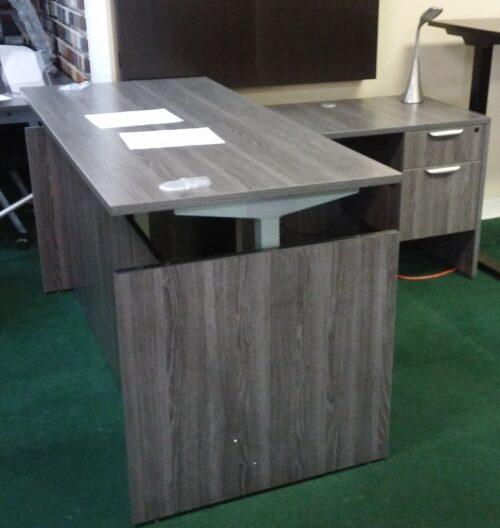 Adjustable Height L-Desk gray