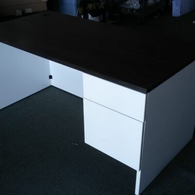 Used Groupe Lacasse 5' single pedestal desk gray & white