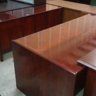 Used wood veneer desk & credenza