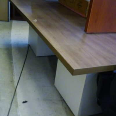 8' Rectangular conference table with cube base walnut & white