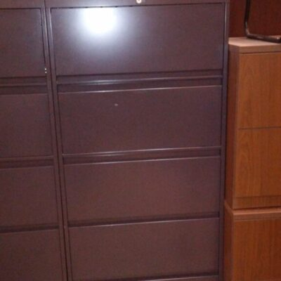 """Used Steelcase 30""""w 5 drawer lateral file with overhead storage cabinet charcoal"""