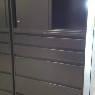 """Used Steelcase 42"""" 5 drawer lateral file with overhead storage cabinet charcoal"""