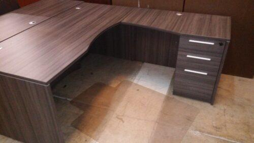 """Used CD 30""""x66"""" L-desk w/ box/box/file gray"""
