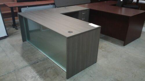 Acrylic front L-shape desk gray