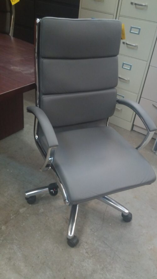 Used High back executive chair gray leather